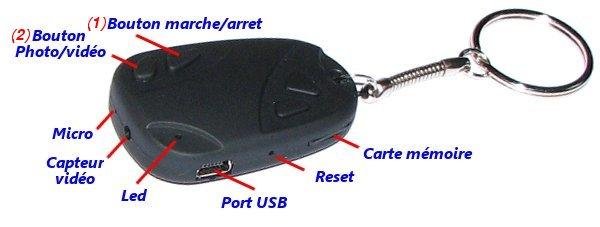 comment marche 808 car keys micro camera